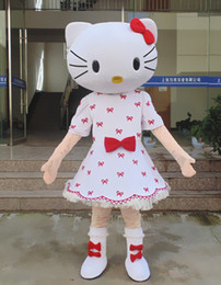 Cat Suit Outfits Australia - Hello Kitty Mascot Costume Flowered Dress Cat Kitty Carnival Character Suit Cat Character Cartoon Costume Outfits Adult