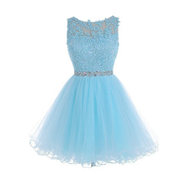 Short Light Yellow Prom Dresses Australia - Sexy Keyhole Short Light Sky Prom Dresses New 2019 Top Lace Applique Beads Crystals Sash With Tulle Skirt Sleeveless Mini Homecoming Dress
