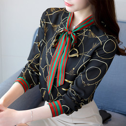 Wholesale top korean long sleeve online – 2018 New Fashion Chiffon Shirt Women Long sleeved Korean Printing Bow Retro Ladies Blouse New Autumn Tops Y190427