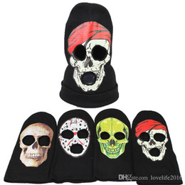 b93b5bf42c0 2019 New Skull 3 Hole Face Mask Beanie Winter Warm Ski Snowboard Knitted Caps  Wear Balaclava Full Face Cover Mask Halloween Cosplay Costume