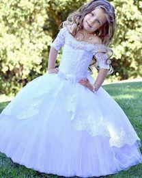 Shirts Patterns Images Australia - Off Shoulder Lace Girls White Wedding Baptism Flower Girl Dresses First Communion TUTU Princess Gown Short Sleeve Pattern