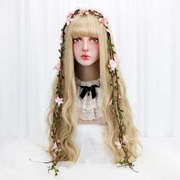 "lolita wigs blonde Australia - 32"" Cosplay Blonde Wig With Bangs Long Wave Synthetic Hair Custom Party Cosplay Lolita Wigs For Black White Women Heat Resistant"