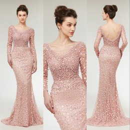 $enCountryForm.capitalKeyWord Canada - 2019 New Real Image Pink Evening Dresses Wear Sheer Neck Long Sleeves Beaded Pearls Backless Long Elegant Formal Party Dress Prom Gowns