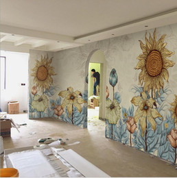 Paint art roll online shopping - Abstract sunflower wallpaper Hand painted abstract individual art wallpaper mural sunflower D living room TV background wallpaper seamless