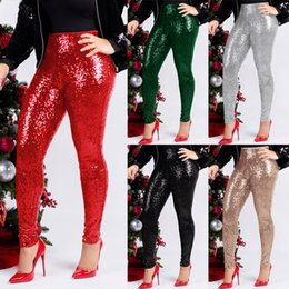 4eb0af01 Women Sequin Pencil Pants High Waist Skinny Leggings Stretch Trousers Night  Club Streetwear Bottom Pants OOA6402