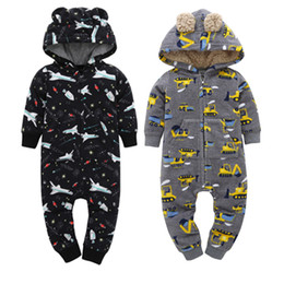 jumpsuits rompers for babies Australia - infant baby winter warm rompers fleece lining newborn ears costume long sleeve hooded jumpsuit overalls for 6-24M baby boy girlMX190912