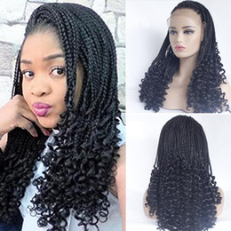 micro braided wigs UK - Micro Braiding with Curly Tips Synthetic Lace Front Wigs Free Parting #1B Braids Braided Wigs Heat Resistant Fiber Half Hand Weave for Women