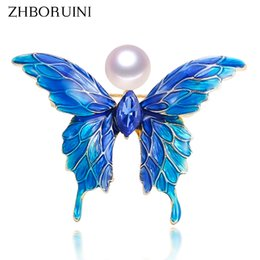 Brooch Hair Australia - Cheap Hair Jewelry ZHBORUINI 2019 Real Natural Brooch Blue Enamel Butterfly Pearl Pins Freshwater Pearl Jewelry For Women Gift Accessories