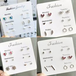 $enCountryForm.capitalKeyWord Australia - 6pcs set Lovely Pearl Bow Circle Feather Snow Flower Earrings Set Fashion New Earrings Small Girls Earrings Wholesale Sales