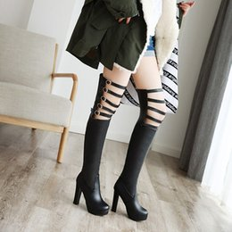 Size 32 33 high heelS online shopping - Large small size to sexy belt buckle hollow hollow thigh high boots in knee boots black and white over the knee boots