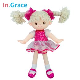beautiful red dresses free shipping 2019 - princess plush girls dolls with veil dress beautiful headwear kids girls plush toy birthday gift 35CM red girls doll fre