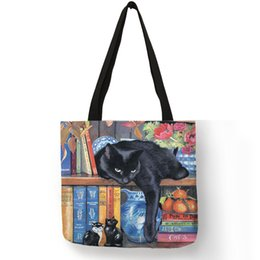 Paintings Ladies Handbags Australia - Oil Painting Cat Print Women Tote Bags Linen Reusable Shopping Bag Shoulder Bags For Women 2019 Sac A Main Ladies Handbags
