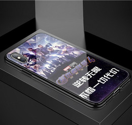 Discount pink border iphone - Cross-border Avengers 4 mobile phone case Marvel Re-Link 4 color-rimmed glass case Anti-drop anti-collision For IPHONE X