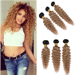 """Wavy Curly Hair Wefts Australia - Cheap Malaysian Human Hair #1B 27 Honey Blonde Ombre Deep Wave Curly Weave Bundles 3Pcs Light Brown Ombre Wavy Virgin Hair Wefts 10-30"""""""