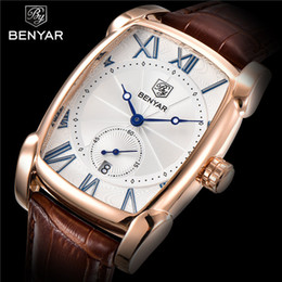Genuine Military Wrist Watches Australia - Benyar Men Watch Waterproof Sport Genuine Leather Mens Wrist Watches Top Brand Luxury Business Military Army Man Clock Gift 5114 Y19052103