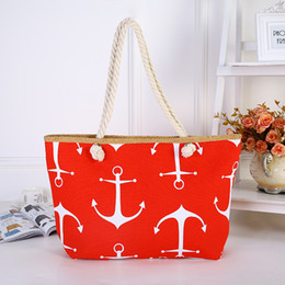 Bag Ship Anchor NZ - Women Handbag Leisure Beach Bags Canvas Printing Cotton Rope Ships Anchor Single Shoulder Sturdy Durable Zipper Design 13 5zpC1