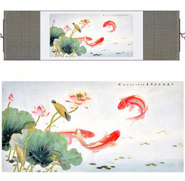flowers art painting Australia - Fish Painting Silk Painting Traditional Art Chinese Painting Fish And Flower