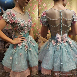 $enCountryForm.capitalKeyWord Australia - Hot 3D Floral Appliqued Homecoming Dresses Sweet 16 Short Sleeve Beads Prom Gowns Plus Size Vintage Formal Evening Dress