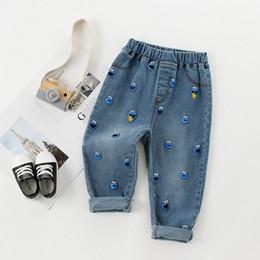 trend jeans Canada - New Style Kids Boy Jeans Elastic Waist Straight Trousers Baby Kids Fashion Denim Pant Casual Jeans Spring Autumn Hot Trends boy