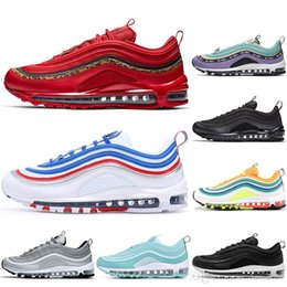 leopard sport shoes NZ - With Socks Fashion Running shoes Air Buffer cushion Red Leopard Triple white black Men women sports Designer Sneakers Mens Trainers