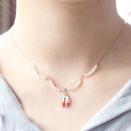 $enCountryForm.capitalKeyWord Australia - Millet pearl enamel orange red dance shoes Pendant Necklace