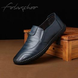 $enCountryForm.capitalKeyWord Australia - Folaxshoo Mens Shoes Casual Rubber Loafers Men Shoe Leather Loafers Breathable Mens Black Leather Walking Shoes Men