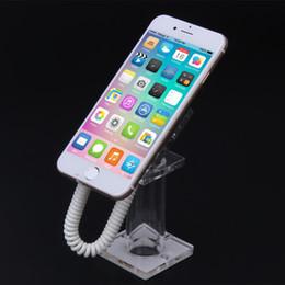 (10 teile / los) Oval-Diebstahlsicherheits-Handy-Acryl-Ausstellungsstand-Halter mit Frühlingskabel für iphone / Samsung / HTC / LG / Sony