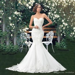 $enCountryForm.capitalKeyWord Australia - Charming Applique Bridal Gowns Mermaid Lace Wedding Dresses Sweetheart Trumpet floor length vintage wedding dress girl