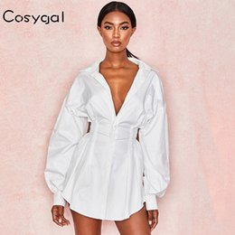 white maxi shirt dress Australia - COSYGAL Sexy White Dress Women Lace Up T Shirt Dress Casual Mini Short Autumn Dresses Streetwear Winter Clothing For Women 2019 V191026