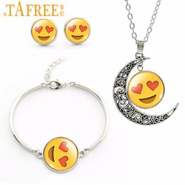 purple moon necklace 2019 - TAFREE 2019 Newest Emoticons Jewelry Set moon pendant necklace Earrings bracelets sets Silver Plated Hearts,Face Charm S