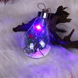 plastic pendant lamp diy Australia - Home Holiday DIY Plastic Christmas Tree LED Lamp Pendant Bulb Shaped Clear Hanging Ball Drop Ornaments