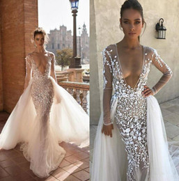 Plunge Wedding Dresses UK - 2019 Berta Mermaid Wedding Dresses Applique Plunging Neck Bridal Gowns With Detachable Train Long Sleeve Illusion Wedding Dress Custom Made