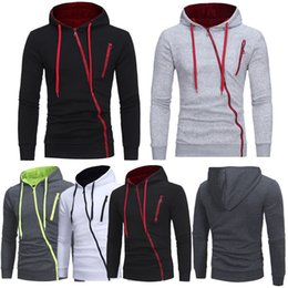 Wholesale plain black hoodie mens for sale – custom Mens Fleece Plain Hoodie Sweatshirt Hooded Irregular Asymmetric Zipper Top Coat Autumn Long Rib Sleeve Jumper Big Sizes M XL