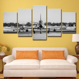 $enCountryForm.capitalKeyWord UK - 5 Piece Canvas Art HD Printed Plane Black White Painting Wall Art Home Decor Painting for Living Room Free Shipping
