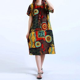 Discount kaftan short dress - Baggy 5Xl2019 New Dress Womens O Neck Floral Print Short Sleeve Linen Casual Knee Length M Tunic Kaftan Plus Size
