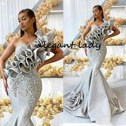 Long sLeeve white evening dress gown online shopping - Unique Silver One Shoulder Prom Dresses Long Lace Appliqued Mermaid Evening Dress Luxury Beaded Ruffles Formal Party Gowns