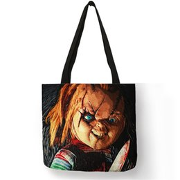 $enCountryForm.capitalKeyWord Australia - Customized Horror Movie Chucky Print Tote Bag Women Men Fabric Handbags Linen Shopping Bags with Customized Pattern