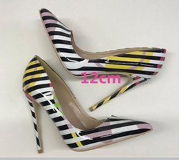 Striped Bottom Dress Australia - new type printing stripe Women High-heeled shoes Fine heel Shallow mouth Single shoes 8cm 12cm 10cm large size 44 wedding dress Red bottom