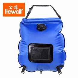 Wholesale Hewolf L Summer Outdoor Folding Solar Heating Water Bag With Thermometer Camping Hiking Travel Portable PVC Shower Bag