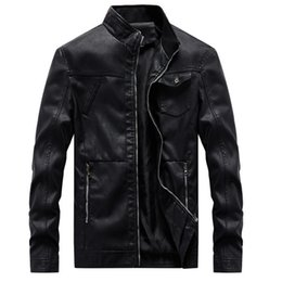 $enCountryForm.capitalKeyWord Australia - New Man Leather Jacket Stand Collar Slim Fit Motorcycle Men Leather Jackets Coats Casual Faux Zipper Male Outerwear 6XL