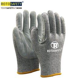 $enCountryForm.capitalKeyWord Australia - Hppe Fiber Knit with Cow Split Leather Sewn Cut Resistant Work Safety Glove Hand Protection from Cuts, Slashes & Punctures