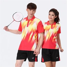 Badminton Games Australia - Adsmoney Turn-down collar badminton Suit (shirt+shorts),Women Men table tennis shirt team game short sleeve POLO T Shirts