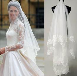 Toptan satış Prenses Kate Gelin Veils Stokta Ucuz Dantel Düğün Peçe Ücretsiz Kargo Düğün Aksesuarları Gelin Peçe Parmak Uzunluğu Custom Made mv3