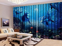 Beautiful Bedroom Curtains Canada - Curtain Exquisite Coral Dolphin Fish Group Underwater World 3D Sea View Curtain Living Room Bedroom Beautiful Practical Shade Curtains