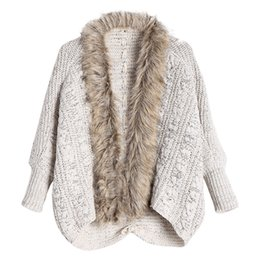 4367e0552c CharMma 2017 New Fashion Women Autumn Knitted Sweaters Cable Knit Faux Fur  Trimmed Cardigan Female Long Sleeve Open Front