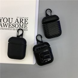 earphones cover Australia - luxury MB airpods Wireless Bluetooth Earphone Case carbon fiber croc leather PC hard Headphones Cases For Airpods Carbon Protective Cover