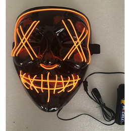led costumes NZ - Halloween Mask LED Light Up Party Masks Dance Party Funny Masks Festival Cosplay Costume Supplies Props Glow Sparkle In Dark Free DHL