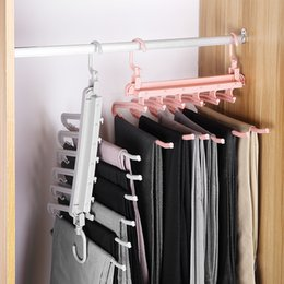 magic clothes hangers NZ - Multi-Function Pants Rack Household Multi-Layer Pants Wardrobe Seamless Retractable Folding Pants Clip Storage Artifact Magic Hanger