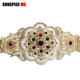 Sunescore-ms rico mulheres flor cinto de fivela jóias de casamento cor prata corpo jóias cintura cadeia ajustar comprimento lindo presente nupcial em Promoção