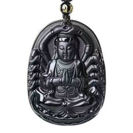 $enCountryForm.capitalKeyWord UK - Hand-carved The Buddhist Goddess Guanyin Black Obsidian Pendant Necklace Sweater Chain Jewelry Gift Wholesale